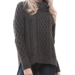 NWT Dark Gray Cable Knit Turtleneck Sweater